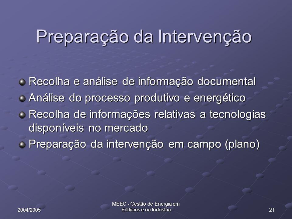 212004/2005 MEEC - Gestão de Energia em Edifícios e na Indústria Preparação da Intervenção Recolha e análise de informação documental Análise do proce