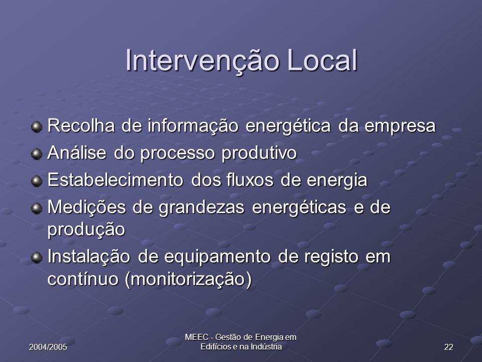 222004/2005 MEEC - Gestão de Energia em Edifícios e na Indústria Intervenção Local Recolha de informação energética da empresa Análise do processo pro