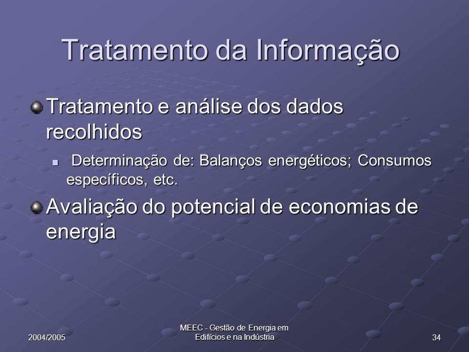 342004/2005 MEEC - Gestão de Energia em Edifícios e na Indústria Tratamento da Informação Tratamento e análise dos dados recolhidos Determinação de: B