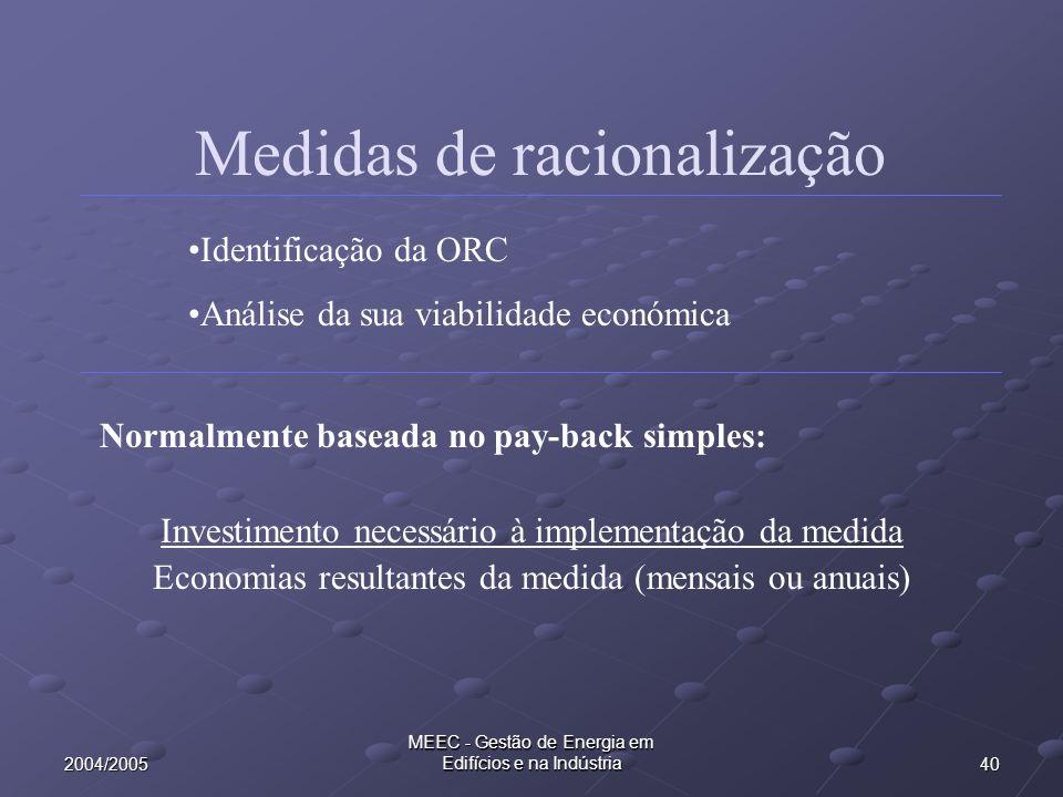 402004/2005 MEEC - Gestão de Energia em Edifícios e na Indústria Medidas de racionalização Normalmente baseada no pay-back simples: Investimento neces