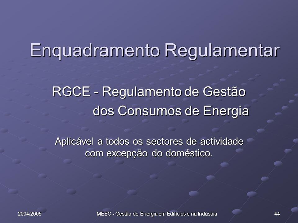 2004/2005 MEEC - Gestão de Energia em Edifícios e na Indústria 44 Enquadramento Regulamentar RGCE - Regulamento de Gestão dos Consumos de Energia dos