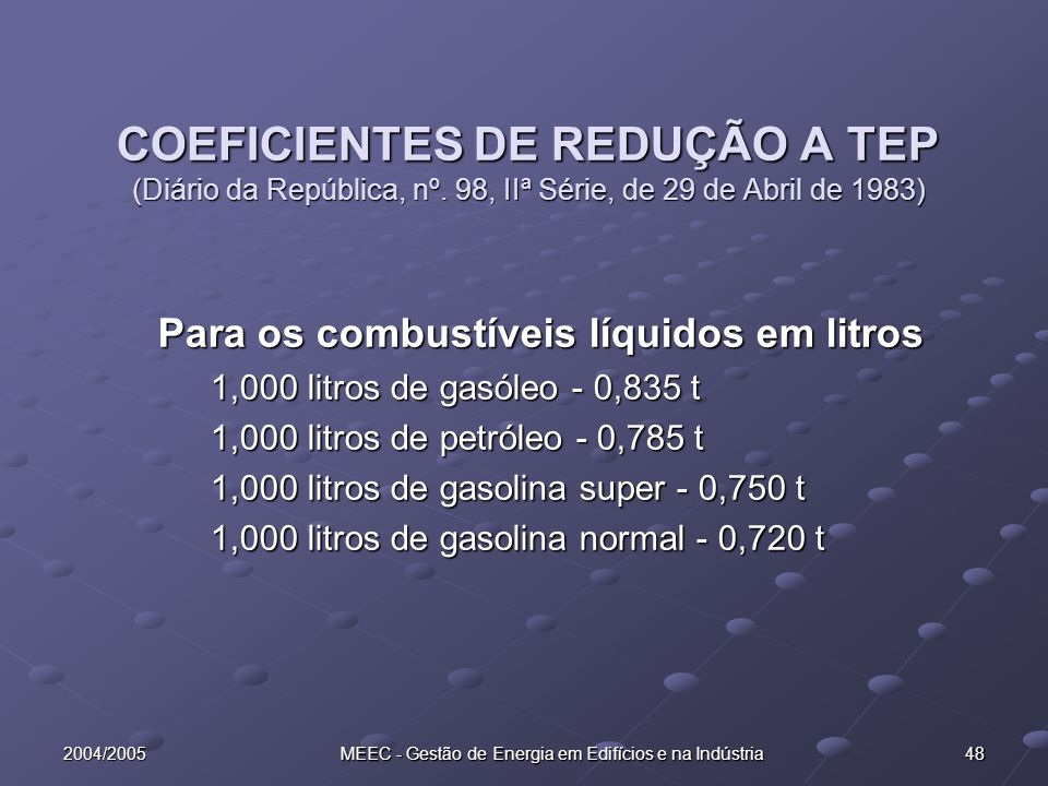 2004/2005 MEEC - Gestão de Energia em Edifícios e na Indústria 48 COEFICIENTES DE REDUÇÃO A TEP (Diário da República, nº. 98, IIª Série, de 29 de Abri