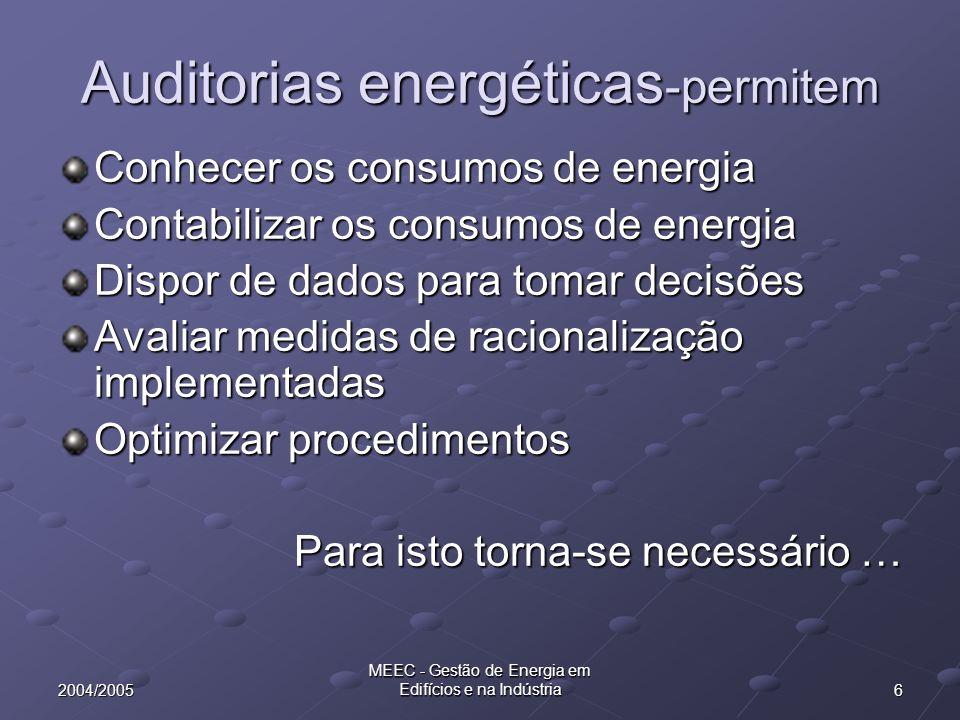 172004/2005 MEEC - Gestão de Energia em Edifícios e na Indústria Resultados da caracterização Energia total que entra na instalação Energia gerada no interior da instalação Energia distribuída no interior da instalação Energia consumida no interior da instalação Energia que sai da instalação (Perdas, produtos)