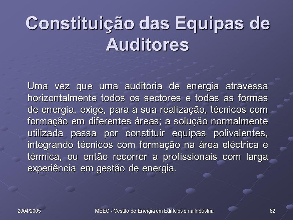 2004/2005 MEEC - Gestão de Energia em Edifícios e na Indústria 62 Constituição das Equipas de Auditores Uma vez que uma auditoria de energia atravessa