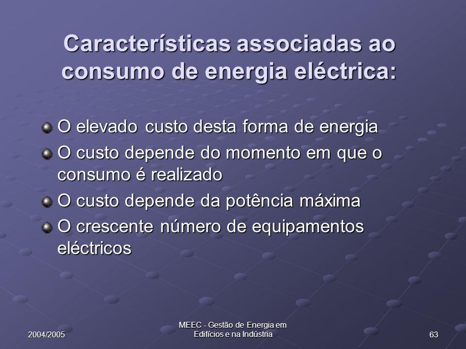 632004/2005 MEEC - Gestão de Energia em Edifícios e na Indústria Características associadas ao consumo de energia eléctrica: O elevado custo desta for