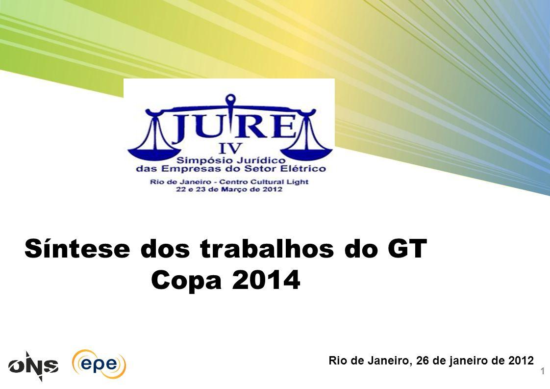 Síntese dos trabalhos do GT Copa 2014 1 Rio de Janeiro, 26 de janeiro de 2012