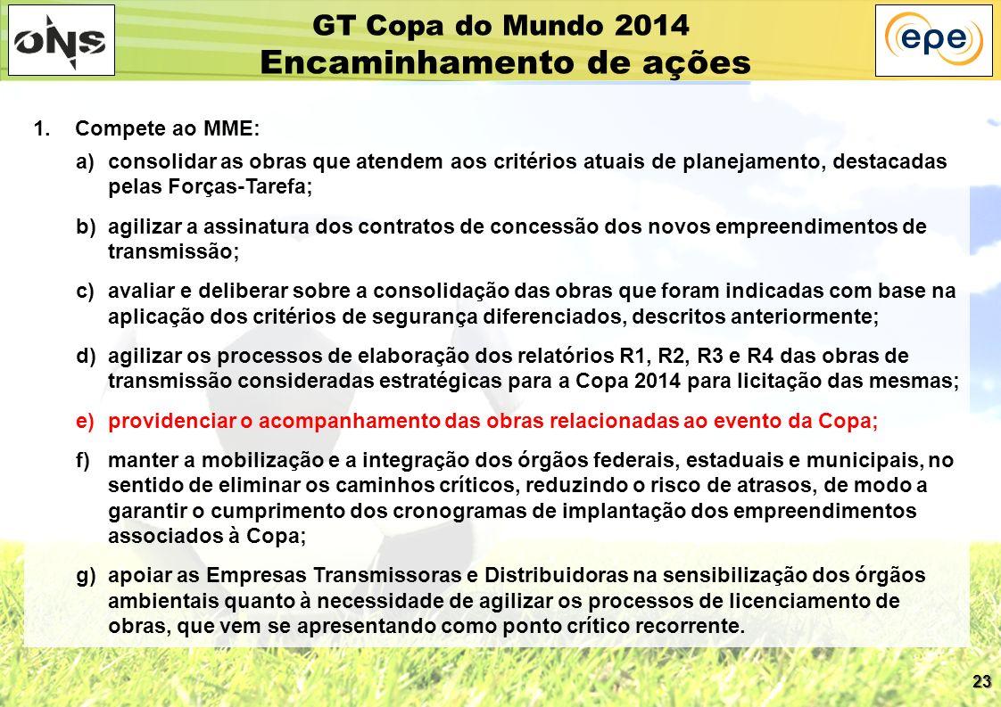 23 GT Copa do Mundo 2014 Encaminhamento de ações 1. Compete ao MME: a)consolidar as obras que atendem aos critérios atuais de planejamento, destacadas