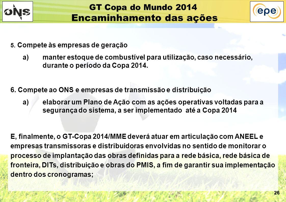 26 GT Copa do Mundo 2014 Encaminhamento das ações 5. Compete às empresas de geração a)manter estoque de combustível para utilização, caso necessário,