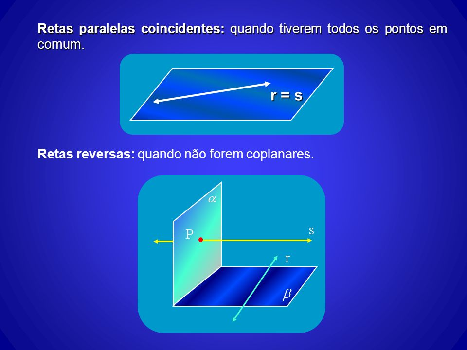 Retas paralelas coincidentes: quando tiverem todos os pontos em comum. r = s Retas reversas: quando não forem coplanares.