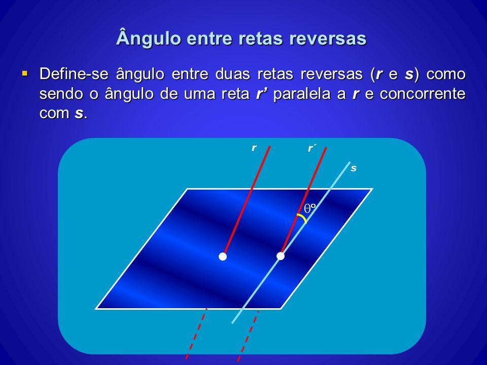 Ângulo entre retas reversas Define-se ângulo entre duas retas reversas (r e s) como sendo o ângulo de uma reta r paralela a r e concorrente com s. Def