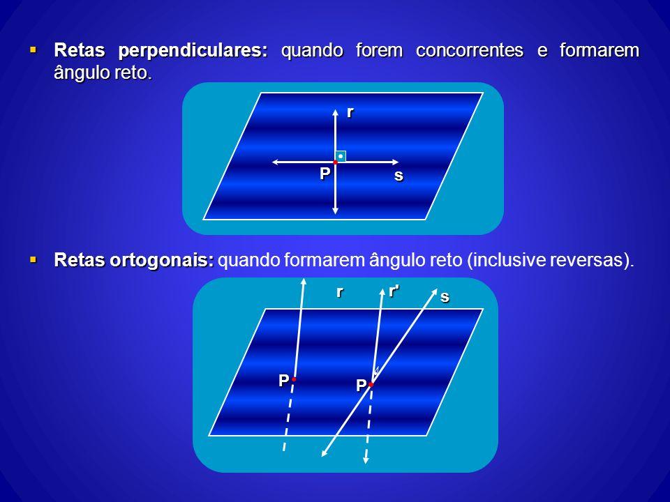 Retas perpendiculares: quando forem concorrentes e formarem ângulo reto. Retas perpendiculares: quando forem concorrentes e formarem ângulo reto. Reta