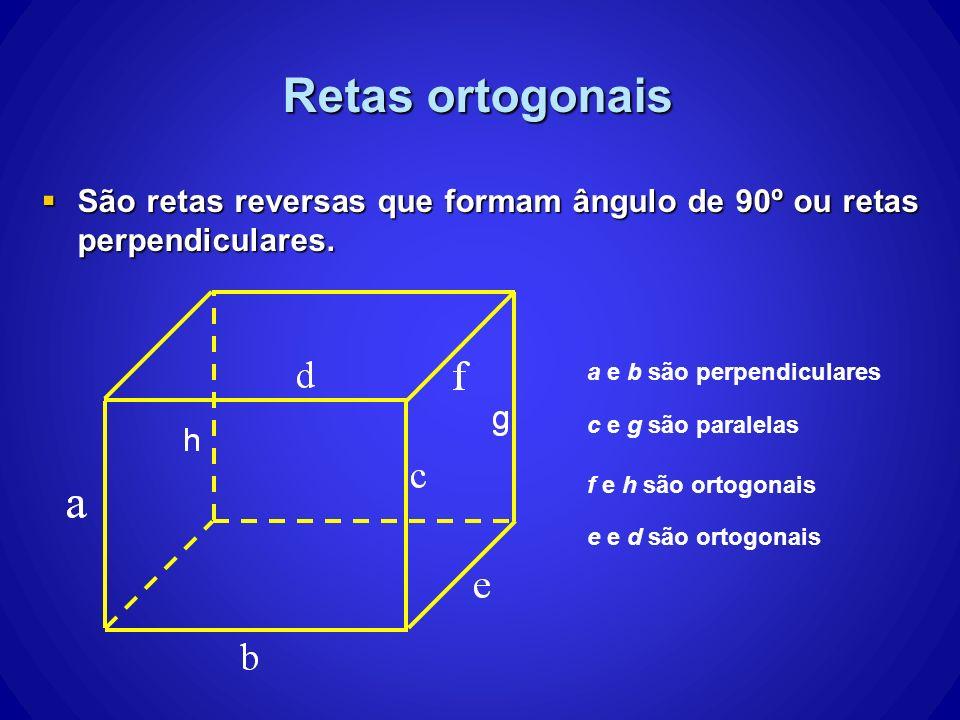 São retas reversas que formam ângulo de 90º ou retas perpendiculares. São retas reversas que formam ângulo de 90º ou retas perpendiculares. Retas orto