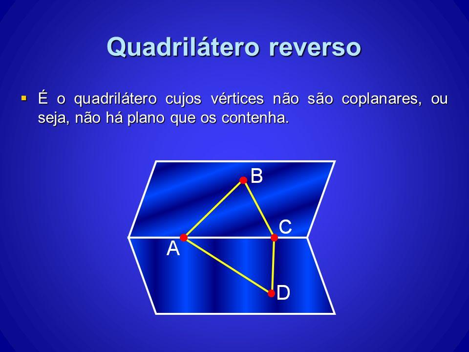 Quadrilátero reverso É o quadrilátero cujos vértices não são coplanares, ou seja, não há plano que os contenha. É o quadrilátero cujos vértices não sã