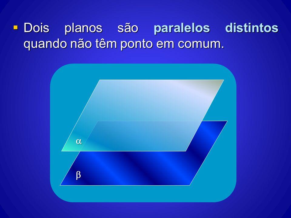 Dois planos são paralelos distintos quando não têm ponto em comum. Dois planos são paralelos distintos quando não têm ponto em comum.