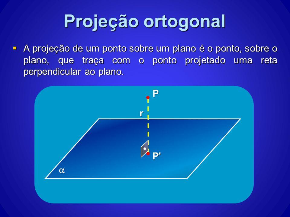 A projeção de um ponto sobre um plano é o ponto, sobre o plano, que traça com o ponto projetado uma reta perpendicular ao plano. A projeção de um pont