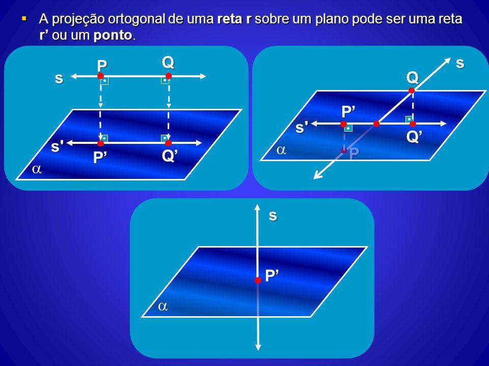 A projeção ortogonal de uma reta r sobre um plano pode ser uma reta r ou um ponto. A projeção ortogonal de uma reta r sobre um plano pode ser uma reta