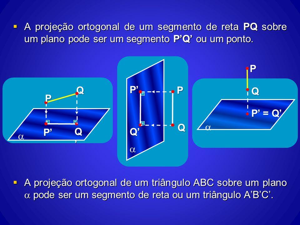 A projeção ortogonal de um segmento de reta PQ sobre um plano pode ser um segmento PQ ou um ponto. A projeção ortogonal de um segmento de reta PQ sobr