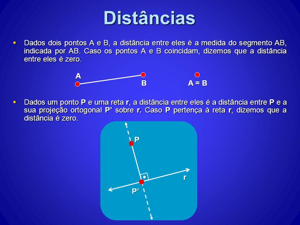 Dados dois pontos A e B, a distância entre eles é a medida do segmento AB, indicada por AB. Caso os pontos A e B coincidam, dizemos que a distância en