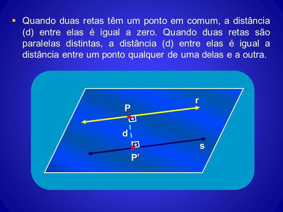 Quando duas retas têm um ponto em comum, a distância (d) entre elas é igual a zero. Quando duas retas são paralelas distintas, a distância (d) entre e