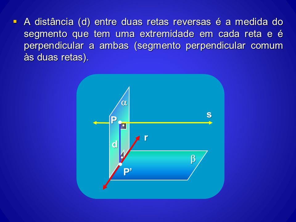 A distância (d) entre duas retas reversas é a medida do segmento que tem uma extremidade em cada reta e é perpendicular a ambas (segmento perpendicula