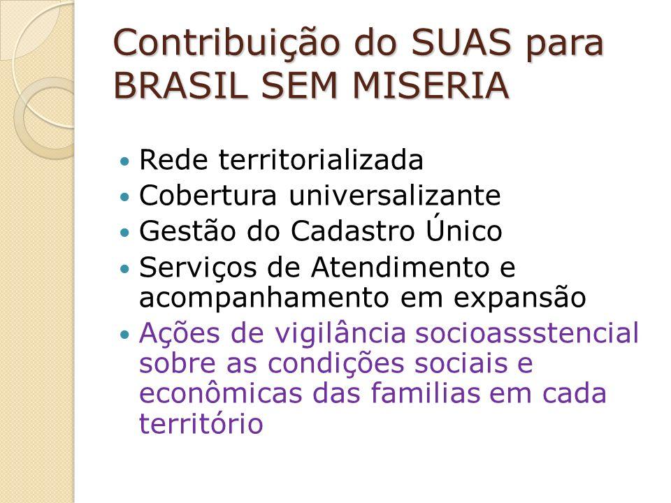 Contribuição do SUAS para BRASIL SEM MISERIA Rede territorializada Cobertura universalizante Gestão do Cadastro Único Serviços de Atendimento e acompanhamento em expansão Ações de vigilância socioassstencial sobre as condições sociais e econômicas das familias em cada território