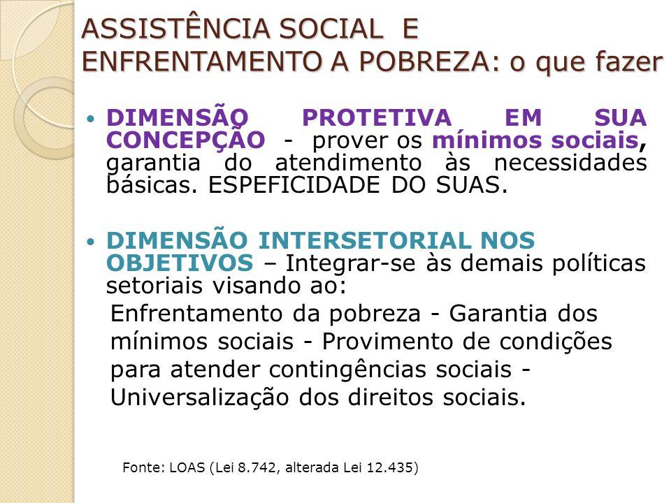 ASSISTÊNCIA SOCIAL E ENFRENTAMENTO A POBREZA: o que fazer DIMENSÃO PROTETIVA EM SUA CONCEPÇÃO - prover os mínimos sociais, garantia do atendimento às necessidades básicas.