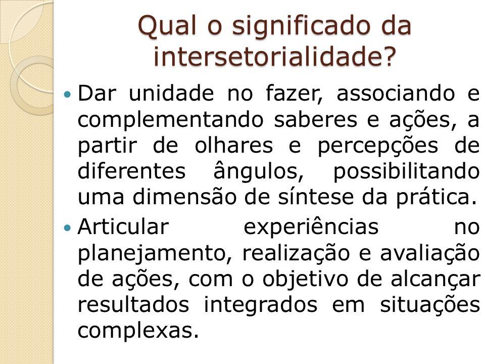 Qual o significado da intersetorialidade.