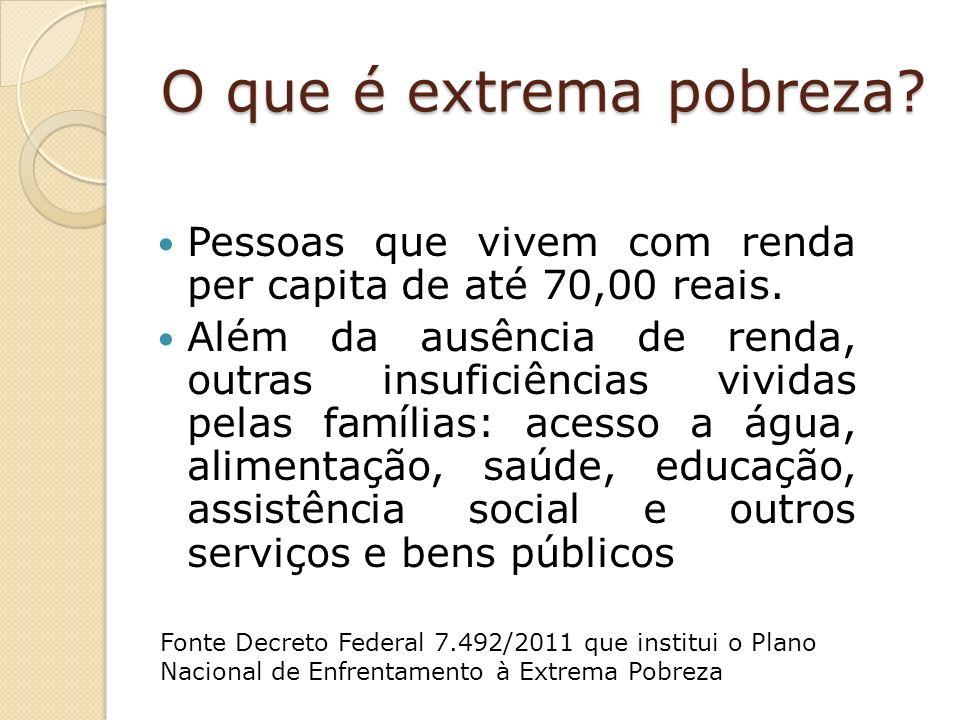 Pessoas que vivem com renda per capita de até 70,00 reais.