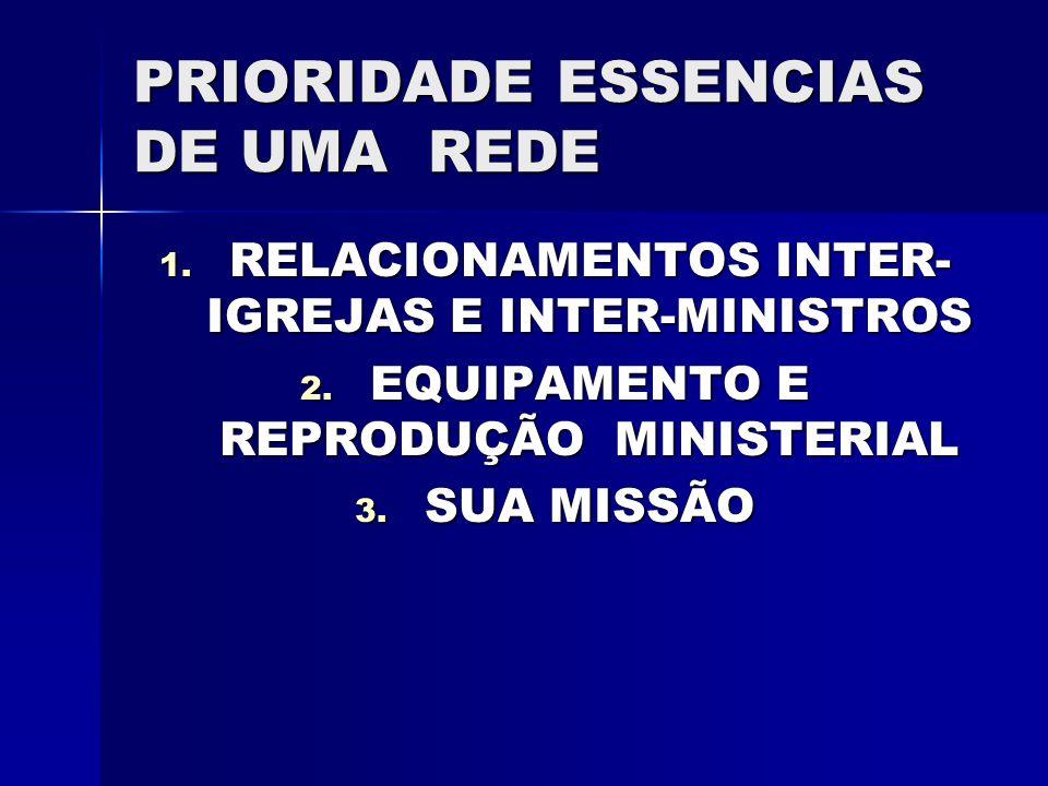 PRIORIDADE ESSENCIAS DE UMA REDE 1. RELACIONAMENTOS INTER- IGREJAS E INTER-MINISTROS 2. EQUIPAMENTO E REPRODUÇÃO MINISTERIAL 3. SUA MISSÃO