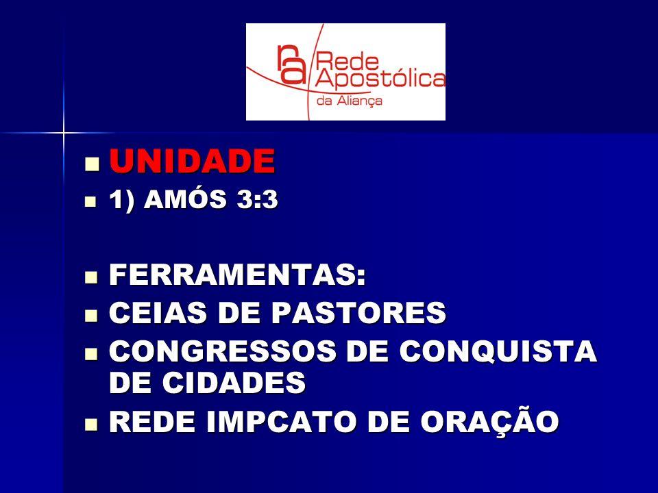UNIDADE UNIDADE 1) AMÓS 3:3 1) AMÓS 3:3 FERRAMENTAS: FERRAMENTAS: CEIAS DE PASTORES CEIAS DE PASTORES CONGRESSOS DE CONQUISTA DE CIDADES CONGRESSOS DE