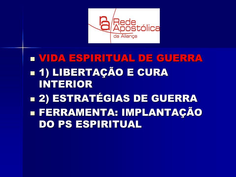 VIDA ESPIRITUAL DE GUERRA VIDA ESPIRITUAL DE GUERRA 1) LIBERTAÇÃO E CURA INTERIOR 1) LIBERTAÇÃO E CURA INTERIOR 2) ESTRATÉGIAS DE GUERRA 2) ESTRATÉGIA