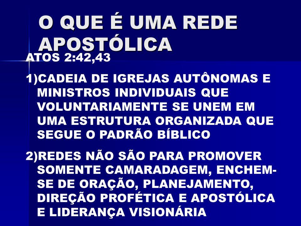 O QUE É UMA REDE APOSTÓLICA ATOS 2:42,43 1)CADEIA DE IGREJAS AUTÔNOMAS E MINISTROS INDIVIDUAIS QUE VOLUNTARIAMENTE SE UNEM EM UMA ESTRUTURA ORGANIZADA