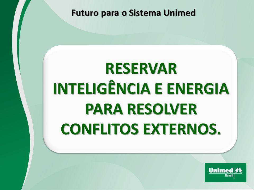 RESERVAR INTELIGÊNCIA E ENERGIA PARA RESOLVER CONFLITOS EXTERNOS. Futuro para o Sistema Unimed