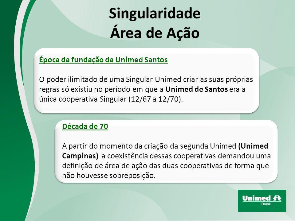 Singularidade Área de Ação Época da fundação da Unimed Santos O poder ilimitado de uma Singular Unimed criar as suas próprias regras só existiu no período em que a Unimed de Santos era a única cooperativa Singular (12/67 a 12/70).