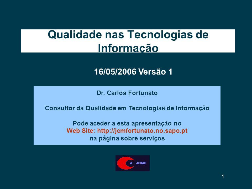 1 Qualidade nas Tecnologias de Informação Dr.