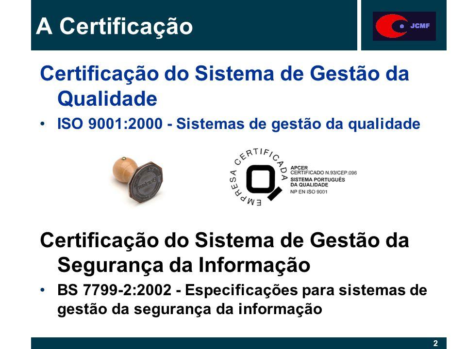 3 3 Entidades certificadoras especializadas em tecnologias de informação: ISO 9001:2000 - Tickit (http://www.tickit.org); 9001 + 12207, interpretação exigente, ex: Walkthrough BS 7799-2:2002 - - BSI - British Standards (ISO/IEC 17799) Institution (http://www.bsi-global.com) - bancos, seguradoras, etc.