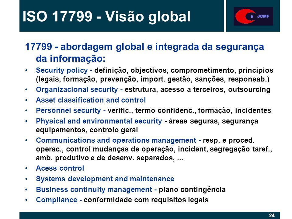 24 17799 - abordagem global e integrada da segurança da informação: Security policy - definição, objectivos, comprometimento, princípios (legais, formação, prevenção, import.