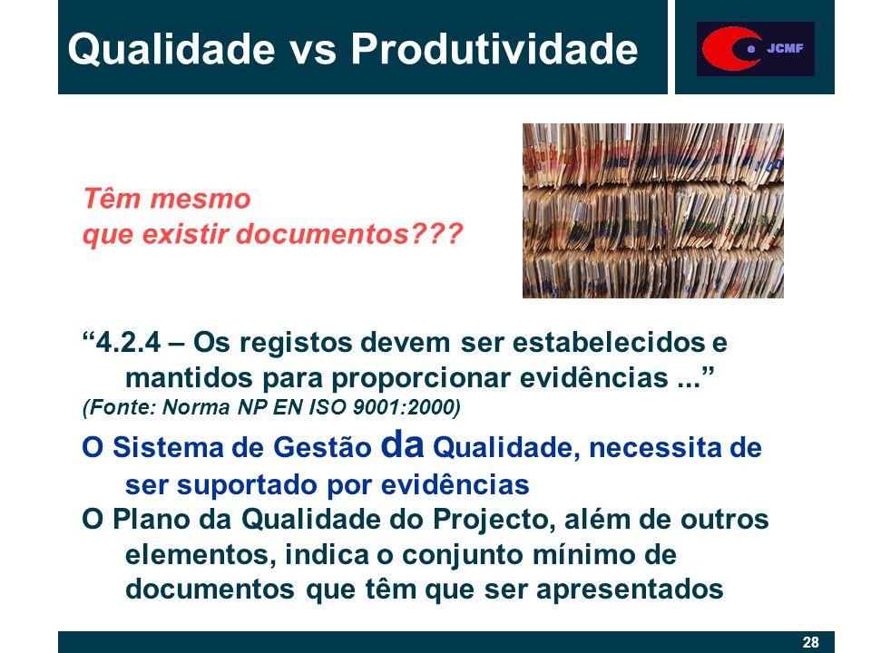 28 Qualidade vs Produtividade 4.2.4 – Os registos devem ser estabelecidos e mantidos para proporcionar evidências...