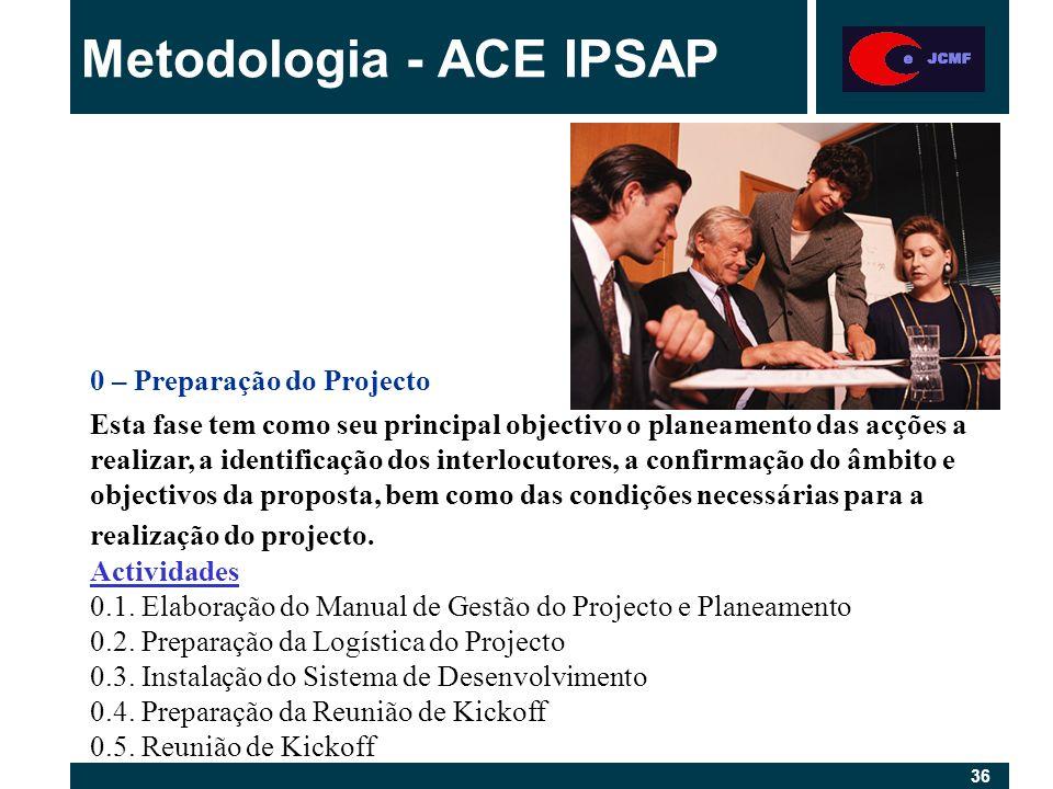 36 Metodologia - ACE IPSAP 0 – Preparação do Projecto Esta fase tem como seu principal objectivo o planeamento das acções a realizar, a identificação dos interlocutores, a confirmação do âmbito e objectivos da proposta, bem como das condições necessárias para a realização do projecto.