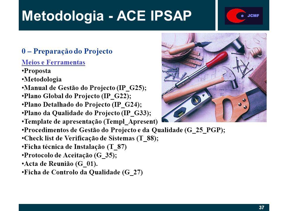 37 Metodologia - ACE IPSAP 0 – Preparação do Projecto Meios e Ferramentas Proposta Metodologia Manual de Gestão do Projecto (IP_G25); Plano Global do Projecto (IP_G22); Plano Detalhado do Projecto (IP_G24); Plano da Qualidade do Projecto (IP_G33); Template de apresentação (Templ_Apresent) Procedimentos de Gestão do Projecto e da Qualidade (G_25_PGP); Check list de Verificação de Sistemas (T_88); Ficha técnica de Instalação (T_87) Protocolo de Aceitação (G_35); Acta de Reunião (G_01).