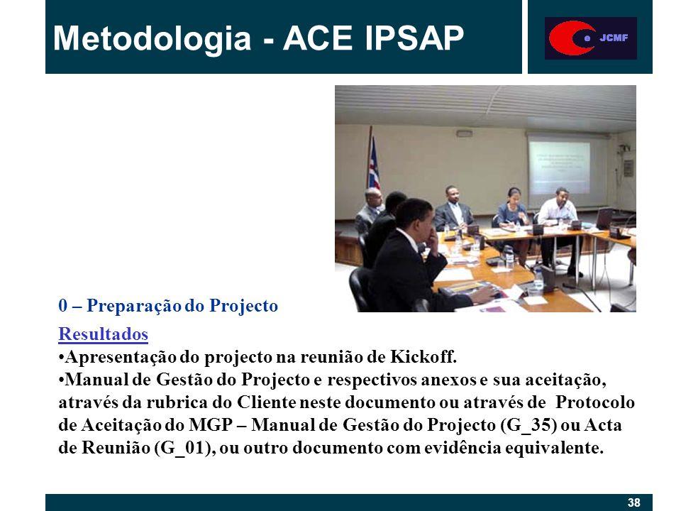 38 Metodologia - ACE IPSAP 0 – Preparação do Projecto Resultados Apresentação do projecto na reunião de Kickoff.