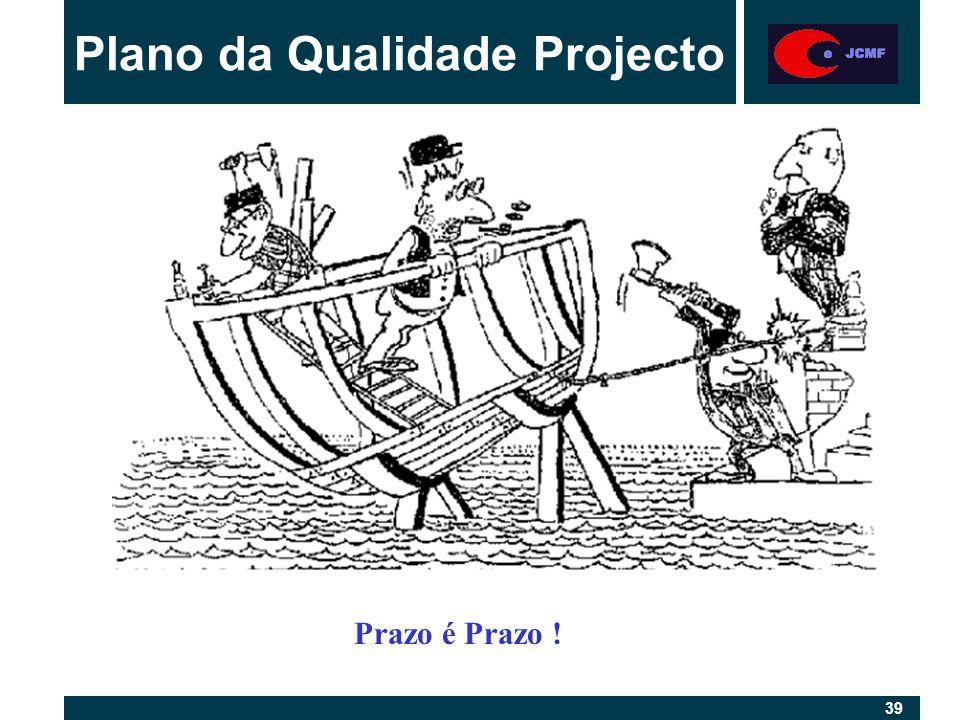 39 Plano da Qualidade Projecto Prazo é Prazo !