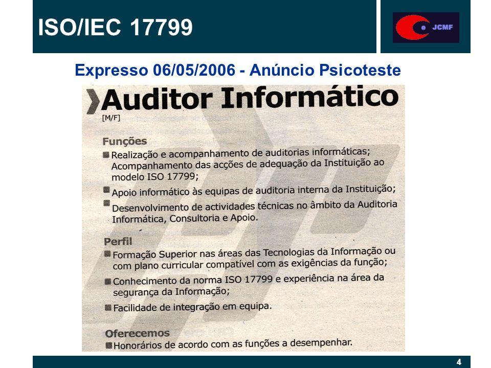 5 5 Principais normas relacionadas com TI: ISO/CEI 12207 - Software life cycle processes ISO/IEC 17799 - Code of pratice for information security management Normas militares: DOD - Departement of Defense (EUA) - ex: http://www.software.org/Quagmire/descriptions/dod -std-2167a.asp AQAP - Allied Quality Assurance Publication (Nato) http://www.nato.int/docu/standard.htm Normas TI