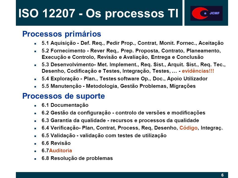 27 1 - A certificação do SGQ é pela NP EN ISO 9001:2000 2 - É possível certificar o Sistema de Gestão da Segurança da Informação, da empresa através da BS 7799-2:2002 3 - A ISO/IEC 12207 e 17799, são utilizadas em Portugal para introduzir as boas práticas, quando tal é necessário 4 - O Plano da Qualidade do Projecto ajuda a equipa, definindo as linhas de orientação para a execução do projecto 5 - Nunca esquecer as relações humanas e comunicação Resumo - Questões Chave