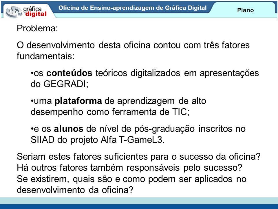 Oficina de Ensino-aprendizagem de Gráfica Digital Plano Problema: O desenvolvimento desta oficina contou com três fatores fundamentais: os conteúdos t