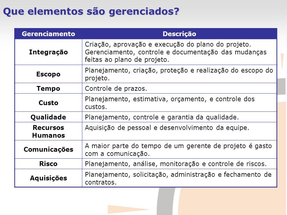 GerenciamentoDescrição Integração Criação, aprovação e execução do plano do projeto. Gerenciamento, controle e documentação das mudanças feitas ao pla