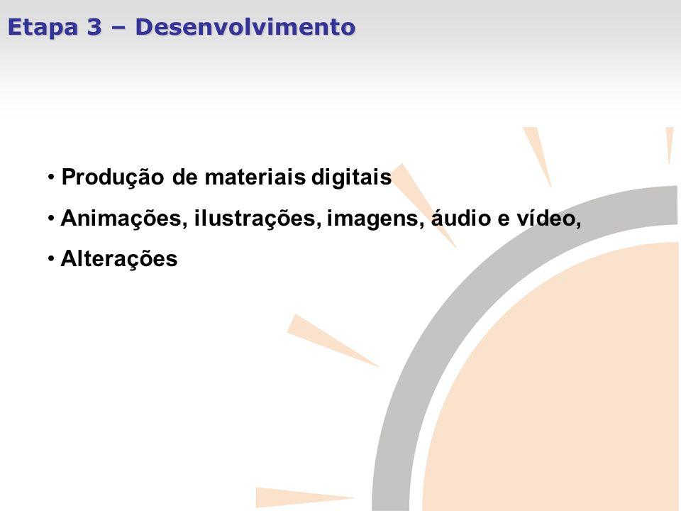 Etapa 3 – Desenvolvimento Produção de materiais digitais Animações, ilustrações, imagens, áudio e vídeo, Alterações