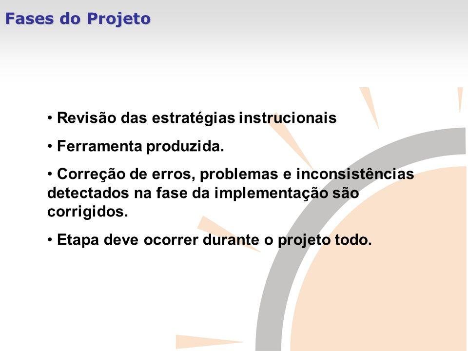 Fases do Projeto Revisão das estratégias instrucionais Ferramenta produzida. Correção de erros, problemas e inconsistências detectados na fase da impl