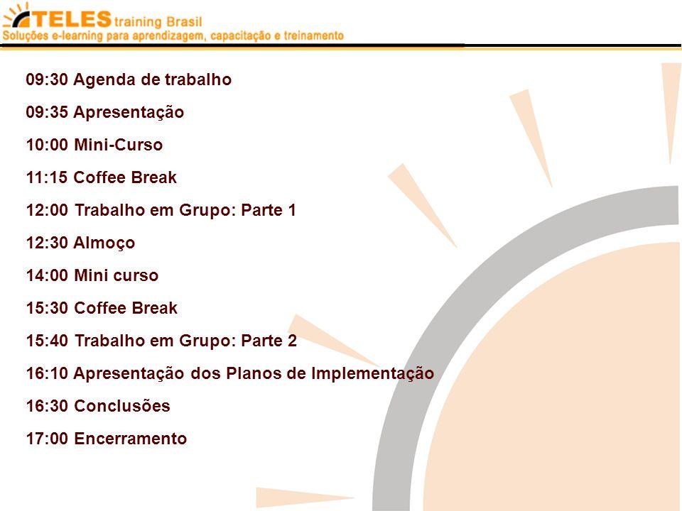 09:30 Agenda de trabalho 09:35 Apresentação 10:00 Mini-Curso 11:15 Coffee Break 12:00 Trabalho em Grupo: Parte 1 12:30 Almoço 14:00 Mini curso 15:30 C