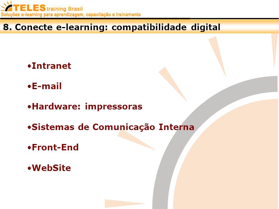 8. Conecte e-learning: compatibilidade digital Intranet E-mail Hardware: impressoras Sistemas de Comunicação Interna Front-End WebSite